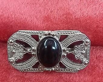 1930's ART DECO Pin Brooch Black Onyx Stone, STUNNING!