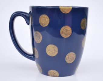Navy & Gold Polka Dot Mug