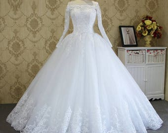 Custom Made Zboda 2017 Bridal Wedding Dress Luxurious Princess Evening Dress Embroided Beaded Ball Gown Long Train Satin Wedding Dress