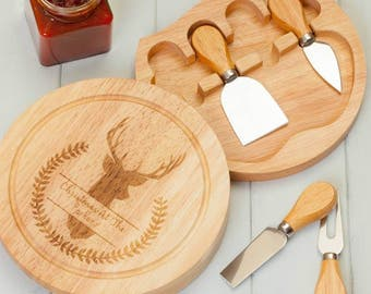 Personalised Winter Stag Cheeseboard And Knives
