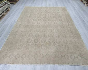 6' 10''x9' 7''Hand knotted vintage neutral decorative Turkish are rug