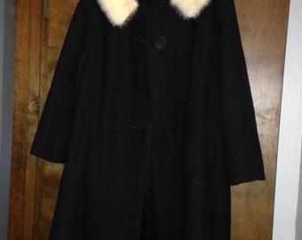 Vintage COX's Fifth Avenue Black Wool Swing Coat White Mink Collar