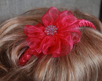 Hair band with flower.