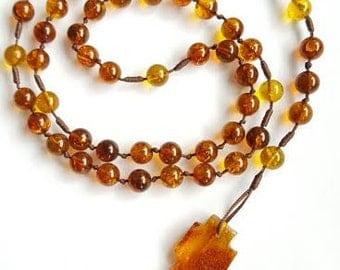 Amber Rosary Catholic Ambra Rosario Cross Necklace Beads 7 mm
