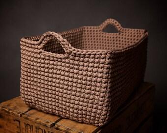Large storage basket, crochet rope basket, handmade rope basket, laundry basket, twine box, home decor, gift idea, decorative knit basket