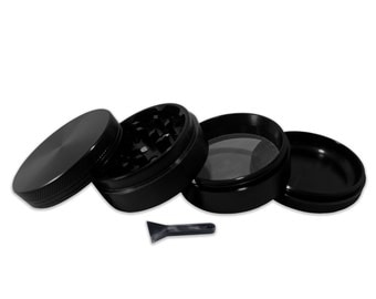 """Black 4 Piece 2.5"""" Weed Grinder - Comes with Travel Pouch and Kief Scraper - Made with Anodized Aluminum"""