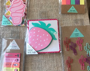 Planner Accesories in Strawberry, Ice Cream, Paper Clips, Printed Flags, or Pattern Flags