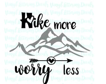 SVG Cricut Cameo Silhouette download | Hike more worry less | digital download | instant download | Hiking, Mountains | Cut file