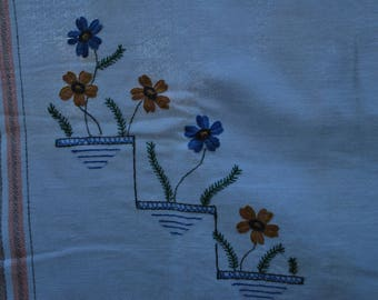 Retro Tablecloth with Embroidered Flowers