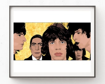 Instant Download, Rolling Stones, Mick Jagger, Keith Richards, Print, Rock Music, Digital Download, Art, Digital, 70s, The Rolling Stones