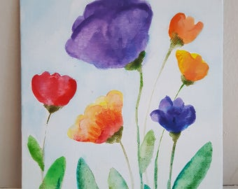"watercolor flowers on 8""x10# canvas panel"