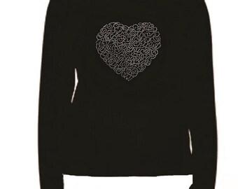 Rhinestone Crystal Heart Lightweight LONG SLEEVE T-Shirt
