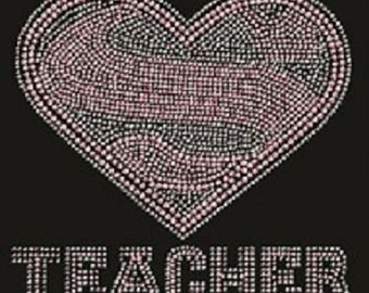 Super Power Teacher Crystal and Pink Rhinestone Ladies T Shirt or DIY Iron On T Shirt Design                       sv -BFHH