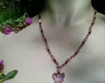 Purple Butterfly Swarovski Necklace