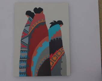 THREE WOMEN WAITING southwest, Santa Fe style, indigenous painting by artist Barbara Day Romero