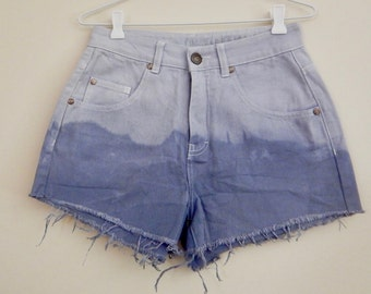 Women's size 8 high waisted dip dyed denim cutoff shorts