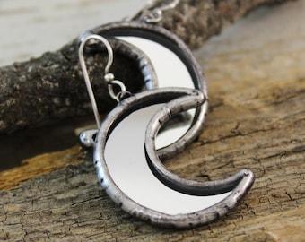 Earrings - moon,earrings in the mirror.earrings glass.Tiffany earrings.silver moon earrings.unique gift to her