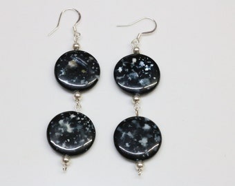 Circular Black Dangle Earrings with Sterling Silver Posts