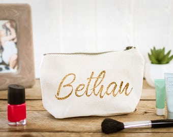 Personalised Makeup & Cosmetic Bag (Full Name Only) - The Perfect Wedding Thank You Gift for your Bridesmaids and Bridal Party
