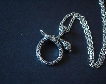 silver tone snake necklace