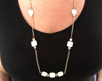 Ivory Necklace with Gold Chain
