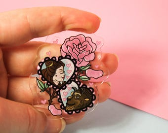 A tale as old as time!- Laser Cut Illustrated Acrylic Brooch - tattoo flash design pin collar clip beauty and the beast disney inspired