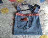 Reclaimed Denim Tote/Bag - Red White and Blue