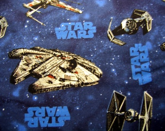 Star Wars Fabric By The Yard Cotton Millenium Falcon X-Wing Fighter Ships 36 Inches Long