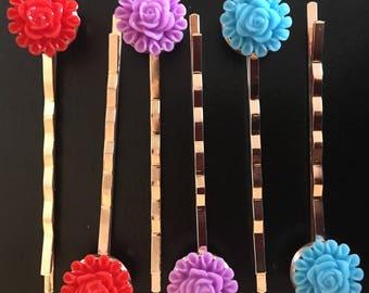 Rose Bobby Pin Set, Rose Gold Pin Set, Flower Hair Pin