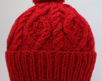Bright Red Hat with pompom