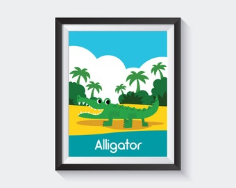 Jungle Animal Poster, Affiche Enfant, Alligator Print, Jungle Nursery Decor, Kids Jungle Print, Crocodile Print, Kids Animal Art, Green Art