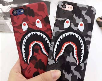 Shark Bape Case Camouflage Bathing Japan Black Red Army Gray Tumblr Phone Case Cover Apple iphone 7 7plus 6 6S 6plus Matte