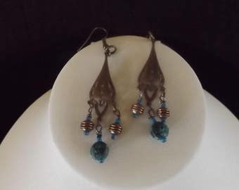 Bronze Drop Earrings with Turquoise Beads