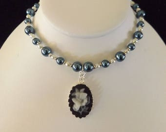 Butterfly Cameo on Pearl Necklace