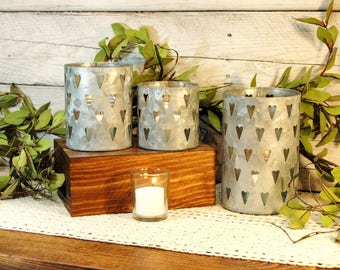 Tin Candle Holder, Tin Heart cut out, Metal candle holder, Galvanized candle holder, Country candle, Farmhouse candle holder, Kitchen decor