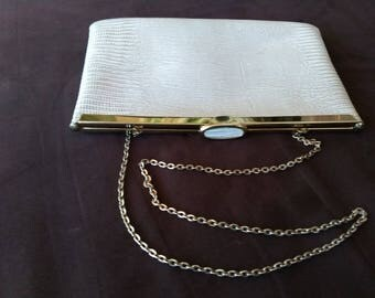 Vintage purse by Etra-ivory leather with snakeskin texture