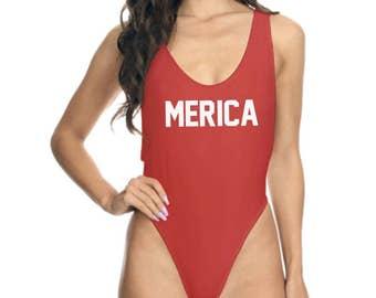 Merica Swimsuit Merica Bathing Suit Merica Swimwear July 4th Swimwear Fourth Of July Swimwear Patriotic Swimwear Patriotic Bathing Suit