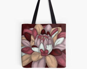 Flower painting printed on Tote fabric - Burgundy Red pattern beige blue sky - reproduction art work of art