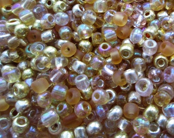 50g 8/0 Seed Bead Mix/Seed Beads, Gold- SKU 8 007 (only pay postage on the first item in an order)