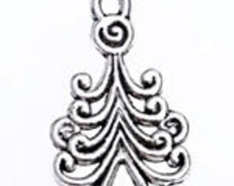 16 23x13mm Tibetan Style Christmas Tree Charms - Nickel, Lead and Cadmium Free - SKU 54482 x 2