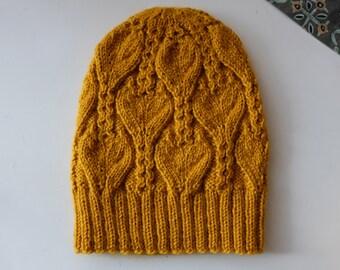 Women's Knit Hat / Mustard Knitted hat / Handmade hat