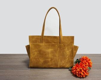 Camel leather bag