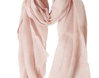 Scarf veil of linen color Rose 60 x 180 cm