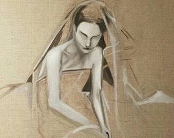Abstract oil painting of women in veil