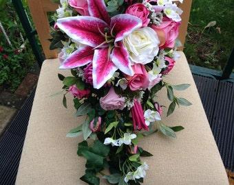 Pink cascading shower, silk wedding flowers