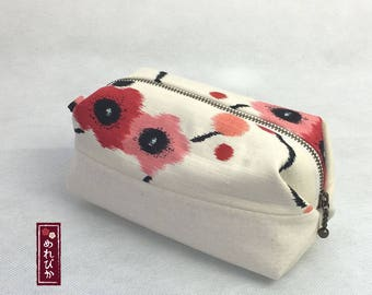 Cosmetic Pouch Japanese style Kimono fabrics Makeup Bag Beige Ume - Free Shipping!!