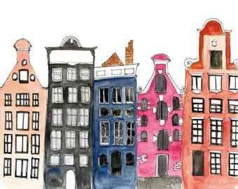 """Amsterdam Canal Houses Print 8 x 10"""" **FREE SHIPPING"""
