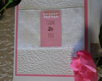 Thank you cards,rose card,pink card,peal card,embossed card