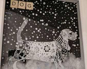 3D wall Art  with screen printed zentangle dog with snowy scene ,gift birthday.Home decor.