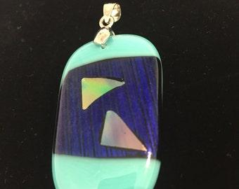 Striking multi blue and dichro pendant